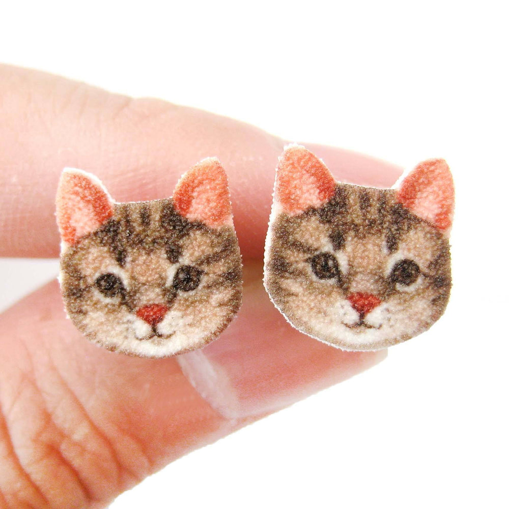 Brown Tabby Kitty Cat Face Shaped Animal Stud Earrings | Handmade Shrink Plastic | DOTOLY