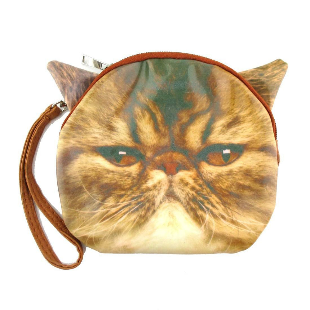 Brown Tabby Kitty Cat Face Shaped Clutch Bag | Gifts for Cat Lovers | DOTOLY