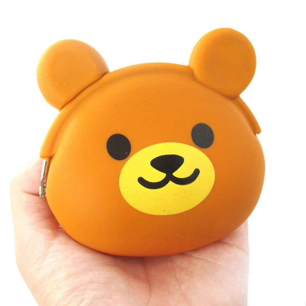 Brown Teddy Bear Shaped Mimi Pochi Animal Friends Silicone Clasp Coin Purse Pouch | DOTOLY