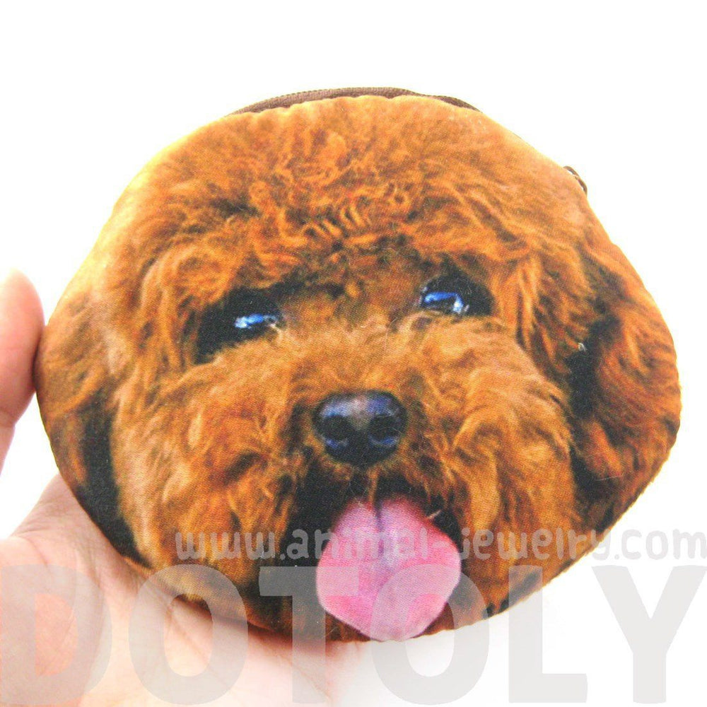 Brown Toy Poodle Puppy Dog Face Shaped Soft Fabric Zipper Coin Purse Make Up Bag | DOTOLY