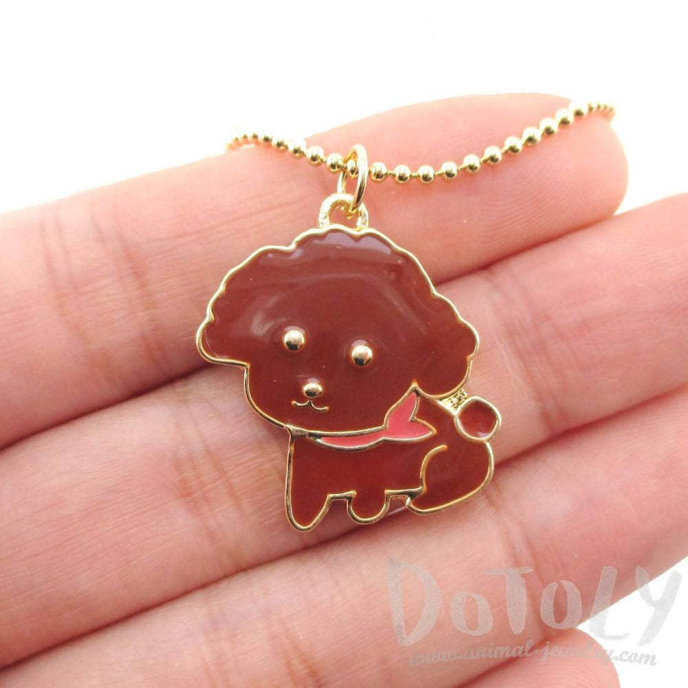 Brown Toy Poodle Puppy Dog Shaped Animal Pendant Necklace | DOTOLY | DOTOLY