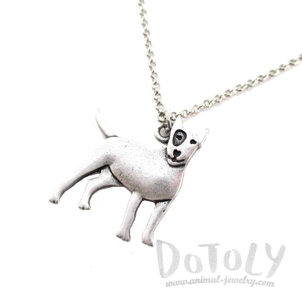 Bull Terrier Puppy Shaped Charm Necklace in Silver | Animal Jewelry