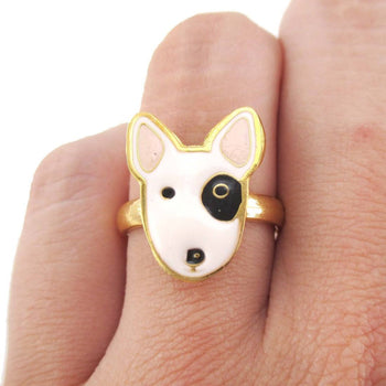 Bull Terrier Puppy Face Shaped Adjustable Animal Ring | Limited Edition | DOTOLY