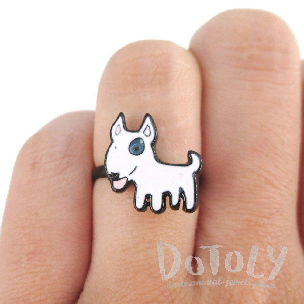 Bull Terrier Shaped Enamel Adjustable Ring for Dog Lovers | DOTOLY