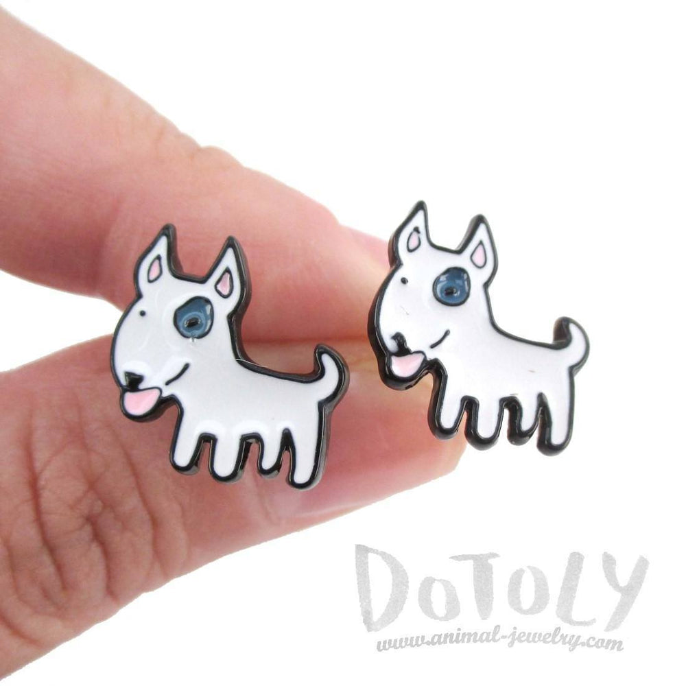 Bull Terrier Shaped Enamel Stud Earrings for Dog Lovers | DOTOLY