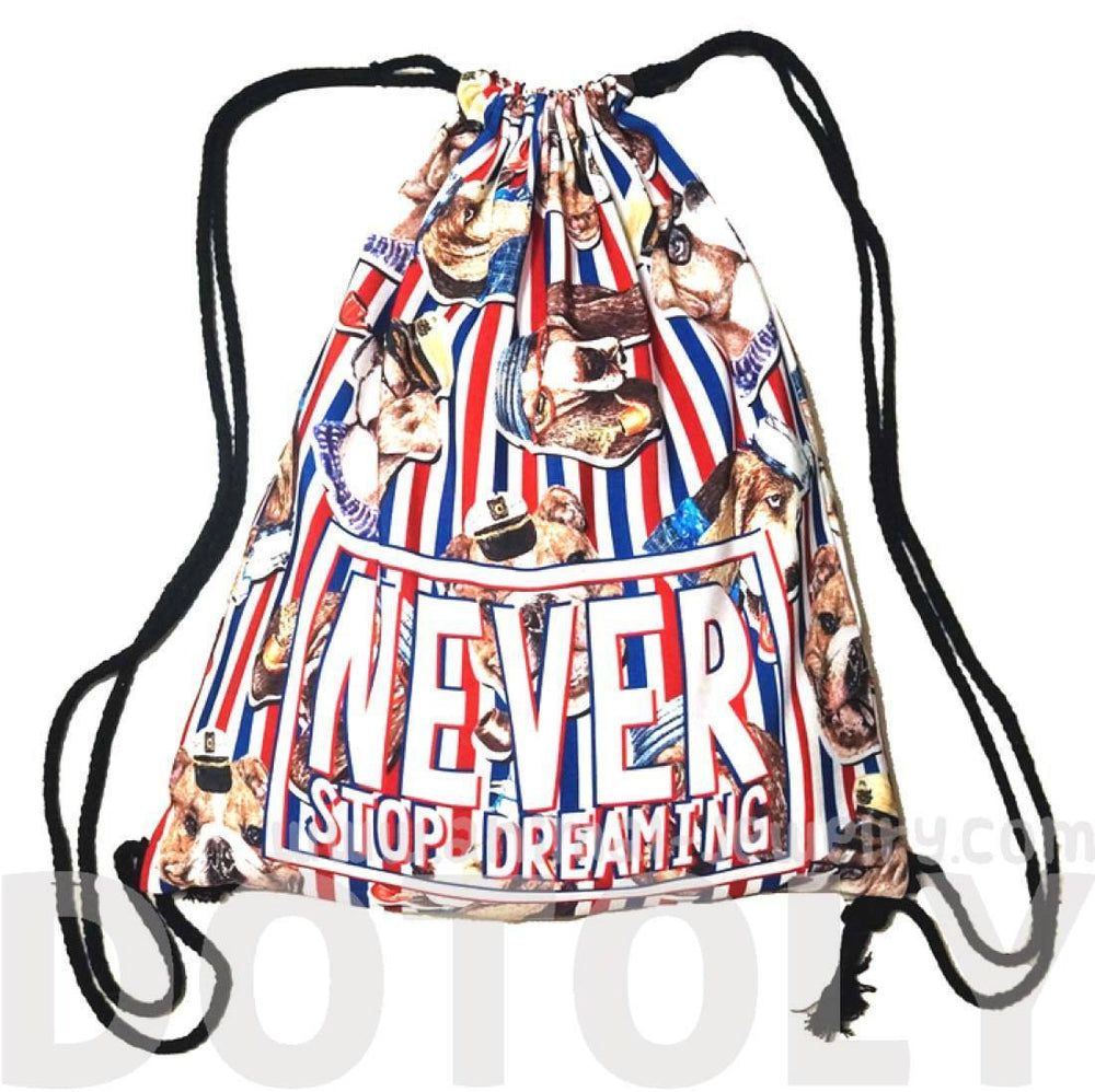 "Bulldog Beagle Puppy Dogs in Sailor Hats Print ""Never Stop Dreaming"" Drawstring Cinch Backpack 