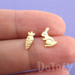Bunny and Carrot Shaped Allergy Free Stud Earrings in Gold | DOTOLY
