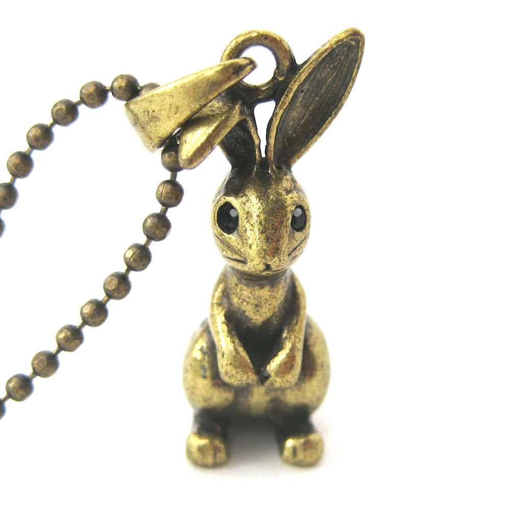Bunny Rabbit 3D Animal Pendant Necklace in Bronze | DOTOLY | DOTOLY