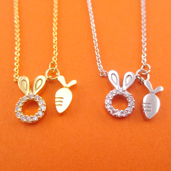 Bunny Rabbit and Carrot Charm Necklace in Gold or Silver | DOTOLY
