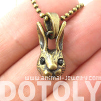 Bunny Rabbit Animal Head Pendant Necklace in Bronze | DOTOLY | DOTOLY