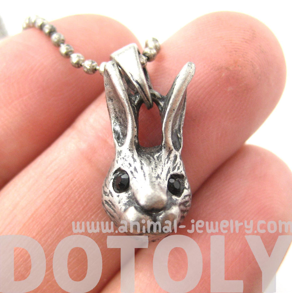 Bunny Rabbit Animal Head Pendant Necklace in Silver | DOTOLY | DOTOLY