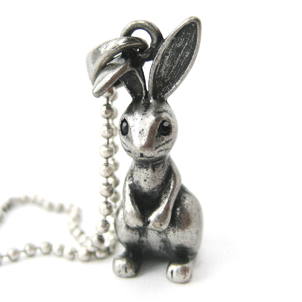 Bunny Rabbit 3D Animal Pendant Necklace in Silver | DOTOLY | DOTOLY