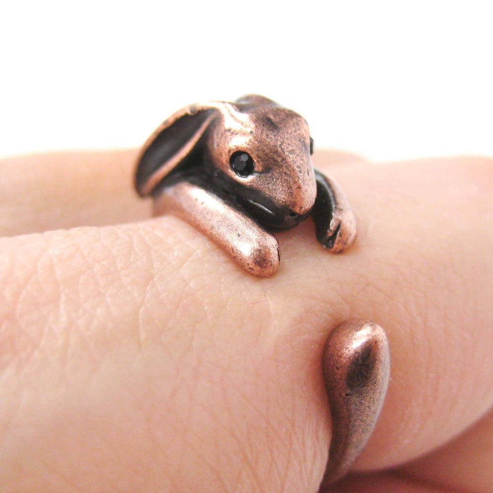 Bunny Rabbit Animal Wrap Around Ring in Copper | Sizes 4 to 9 Available | DOTOLY
