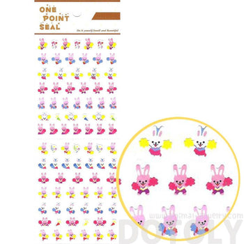 Bunny Rabbit Cheerleaders Animal Sticker Envelope Seal for Scrapbooking and Decorating | DOTOLY