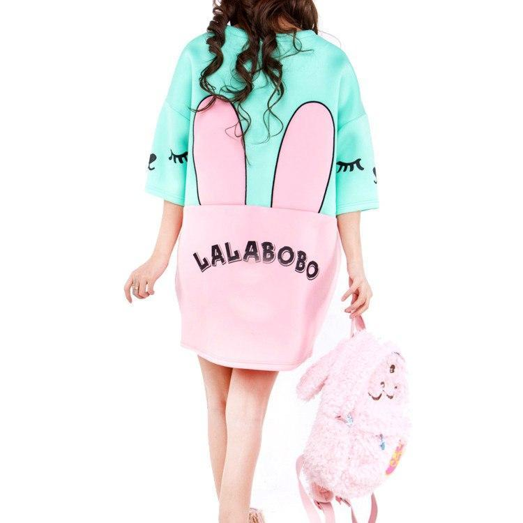 Bunny Rabbit Face Print Oversized Sweater Dress in Pink and Mint Blue | DOTOLY