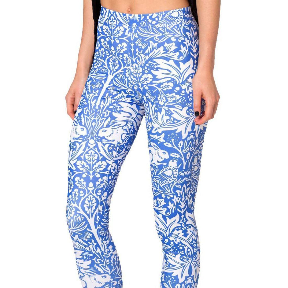 Bunny Rabbit Floral Vines Print Legging Pants for Women in White on Blue | DOTOLY