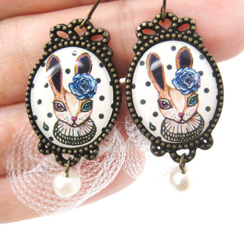 Bunny Rabbit Illustrated Dangle Earrings with Polka Dot Lace and Pearl Details | Animal Jewelry | DOTOLY