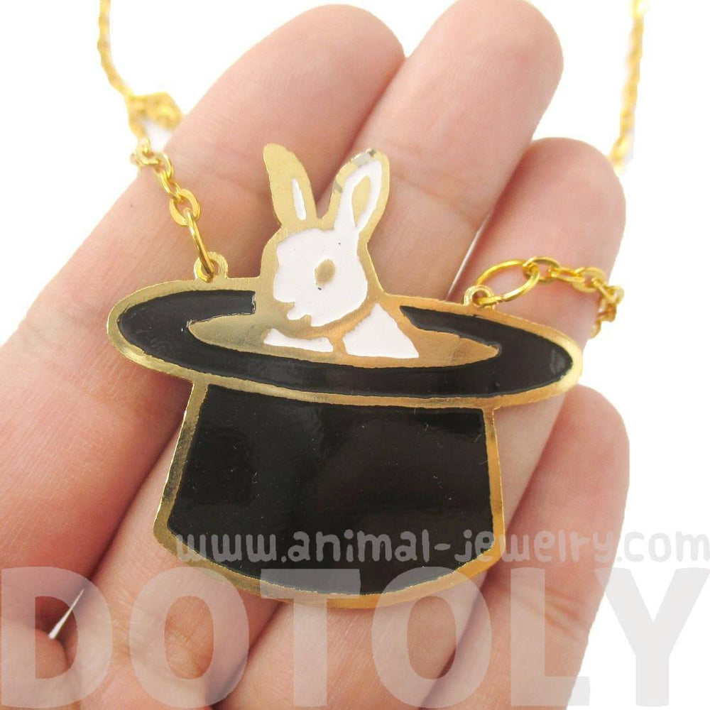 Bunny Rabbit in A Top Hat Shaped Animal Pendant Necklace | Limited Edition | DOTOLY