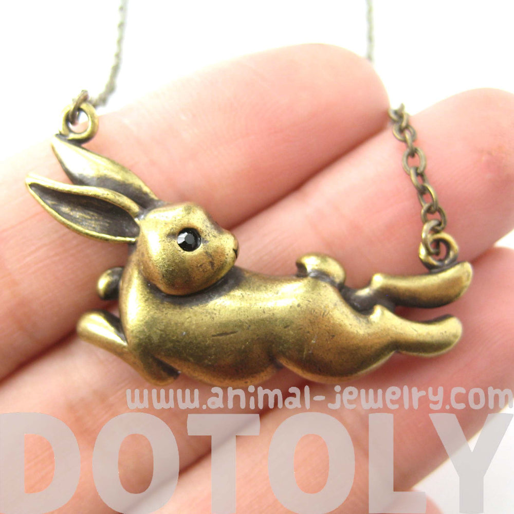 Bunny Rabbit Jumping Animal Pendant Necklace in Brass | DOTOLY | DOTOLY
