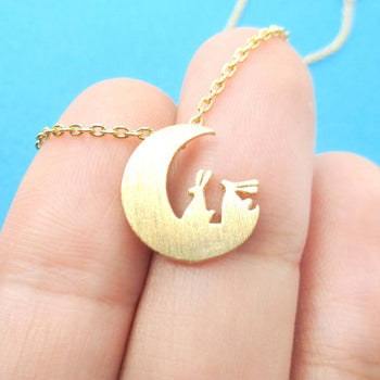 Bunny Rabbit on the Moon Silhouette Shaped Pendant Necklace in Gold | Animal Jewelry | DOTOLY