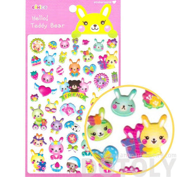 Bunny Rabbit Present Cakes and Gifts Shaped Stickers for Scrapbooking | DOTOLY
