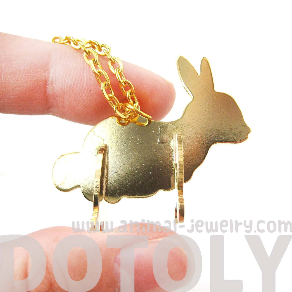 Bunny Rabbit Shaped Animal Puzzle Pendant Necklace in Gold | Limited Edition | DOTOLY
