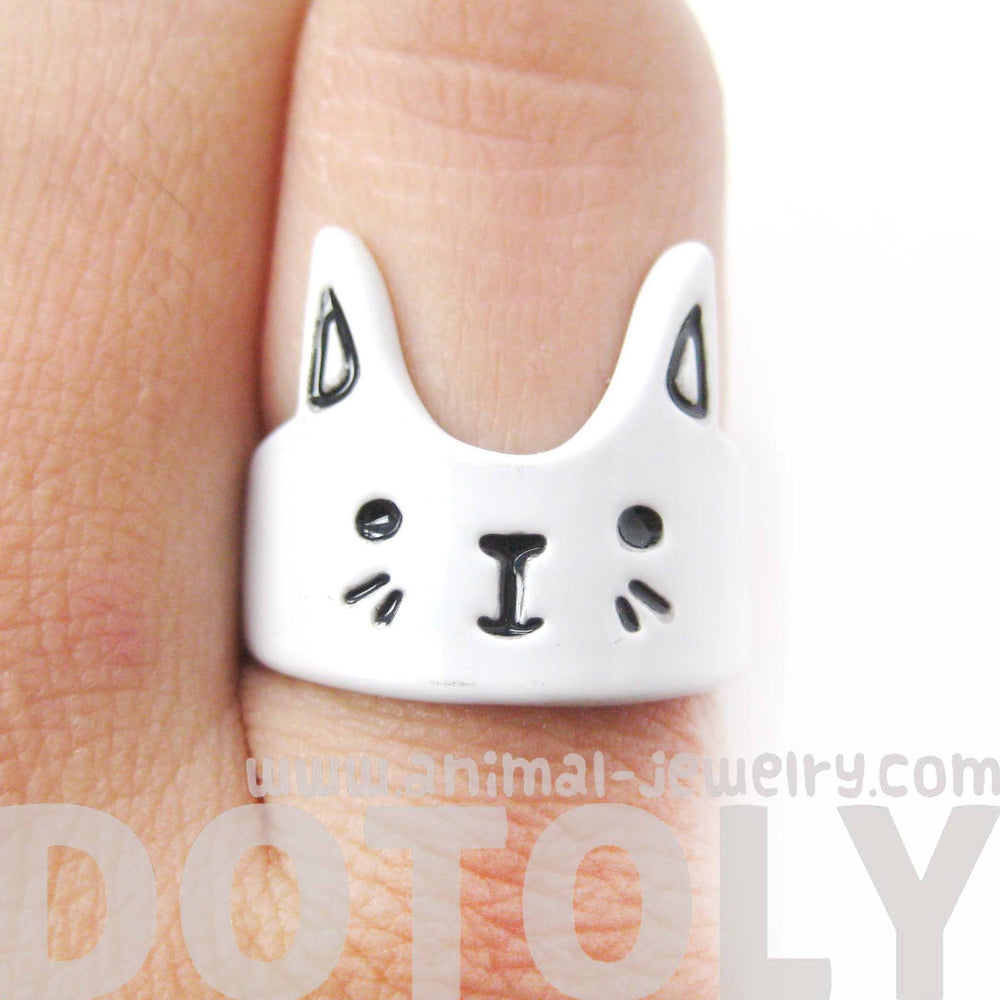 Bunny Rabbit Shaped Cartoon Animal Ring in White | Animal Jewelry | DOTOLY