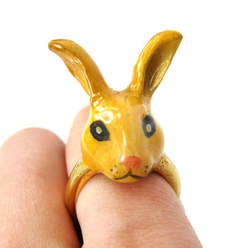 Bunny Rabbit Shaped Enamel Animal Ring in Size 7.5 | Limited Edition | DOTOLY
