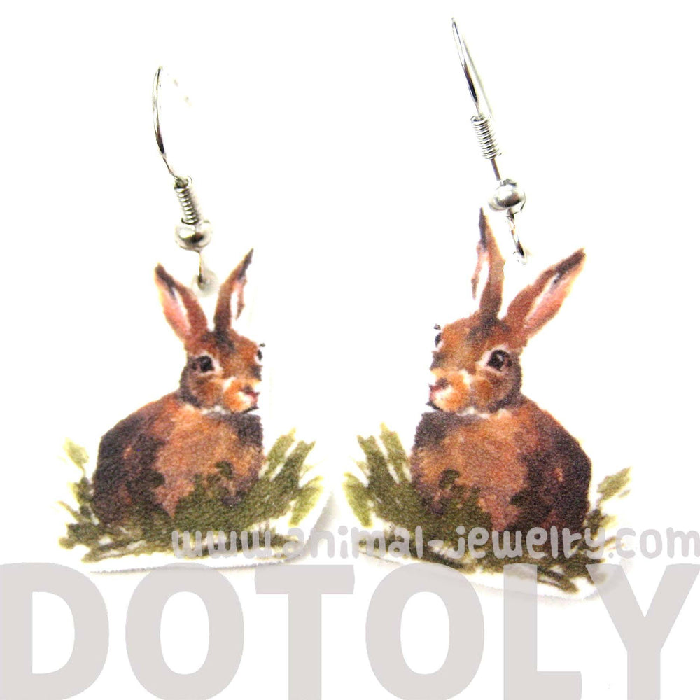 Bunny Rabbit Watercolor Animal Dangle Earrings | Handmade Shrink Plastic | DOTOLY