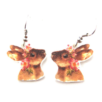 Bunny Rabbit with Flowers Watercolor Animal Dangle Earrings | Handmade Shrink Plastic | DOTOLY