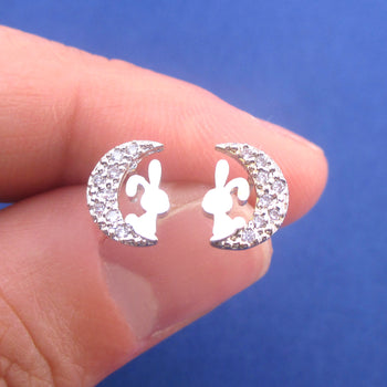 Bunny Rabbits on A Crescent Moon Shaped Sterling Silver Stud Earrings