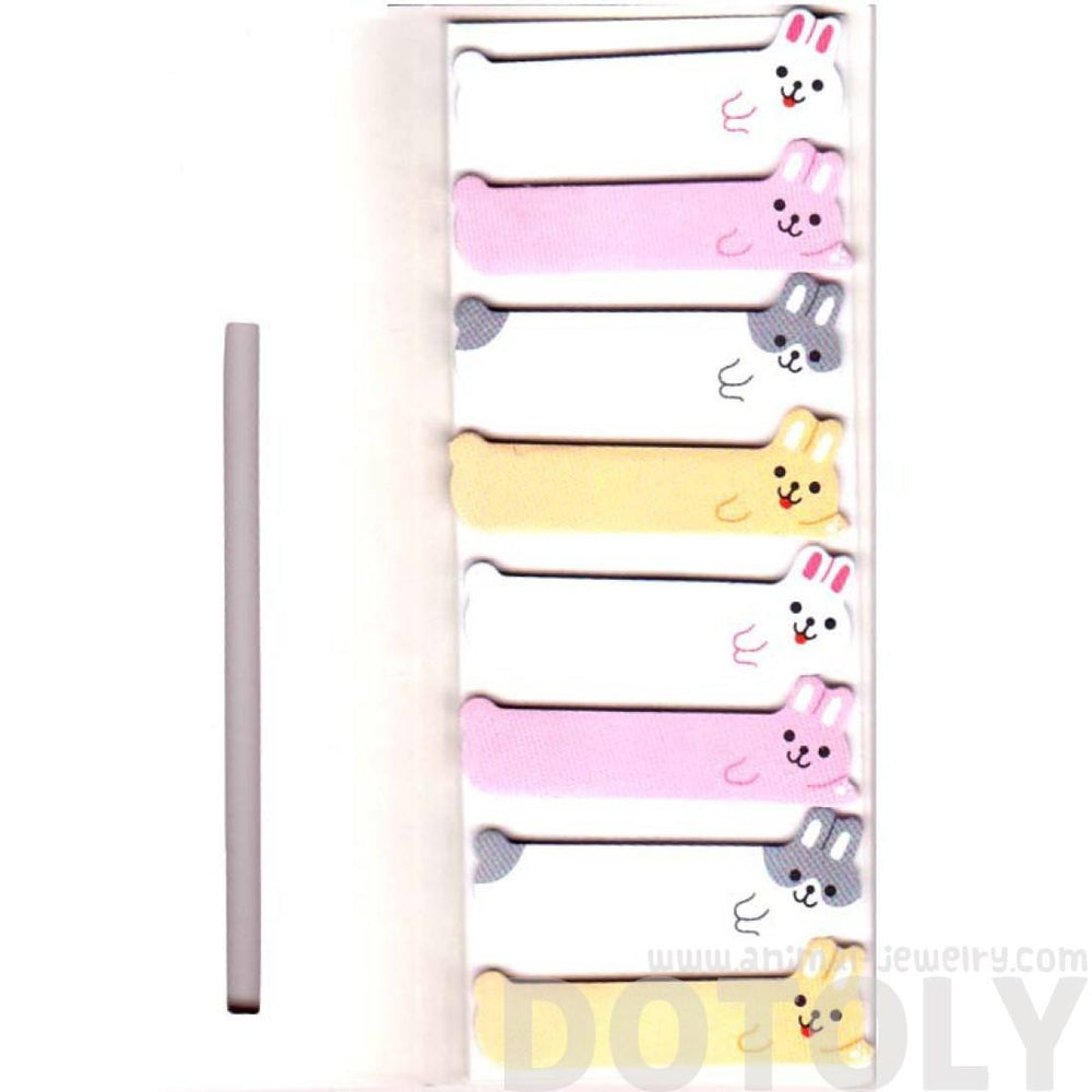 Bunny Rabbits Shaped Memo Post-it Peek Out Sticky Tabs | Animal Themed Stationery | DOTOLY