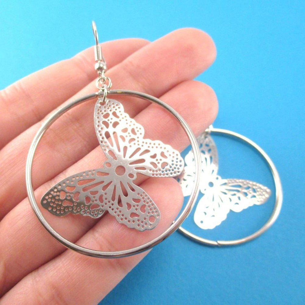 Butterfly Filigree Cut Out Hoop Drop Earrings in Silver | DOTOLY | DOTOLY