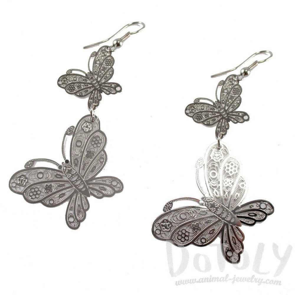 Butterfly Filigree Shaped Tiered Dangle Earrings in Silver | DOTOLY | DOTOLY
