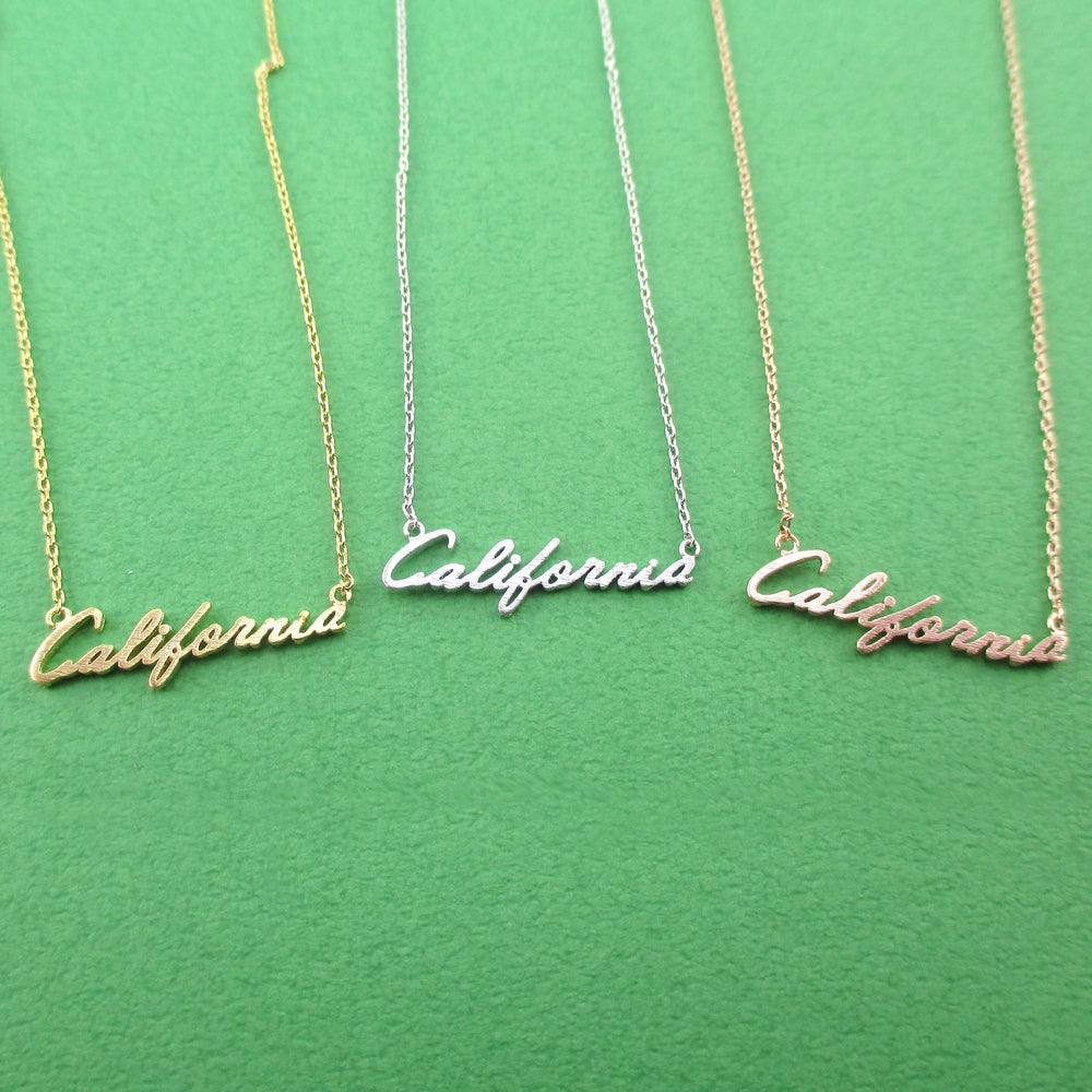 California State Cursive Typography America Necklace