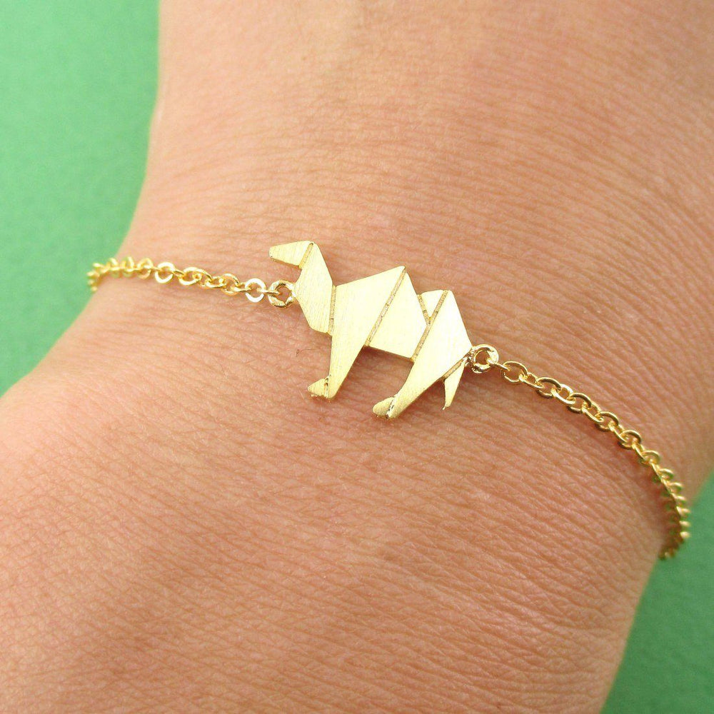 Camel Origami Shaped Charm Bracelet in Gold | DOTOLY
