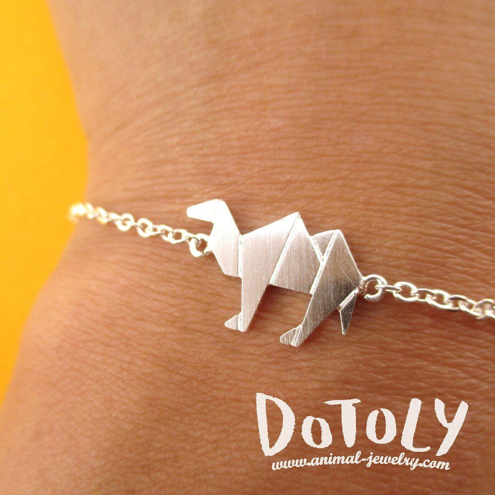 Camel Origami Shaped Charm Bracelet in Silver | DOTOLY