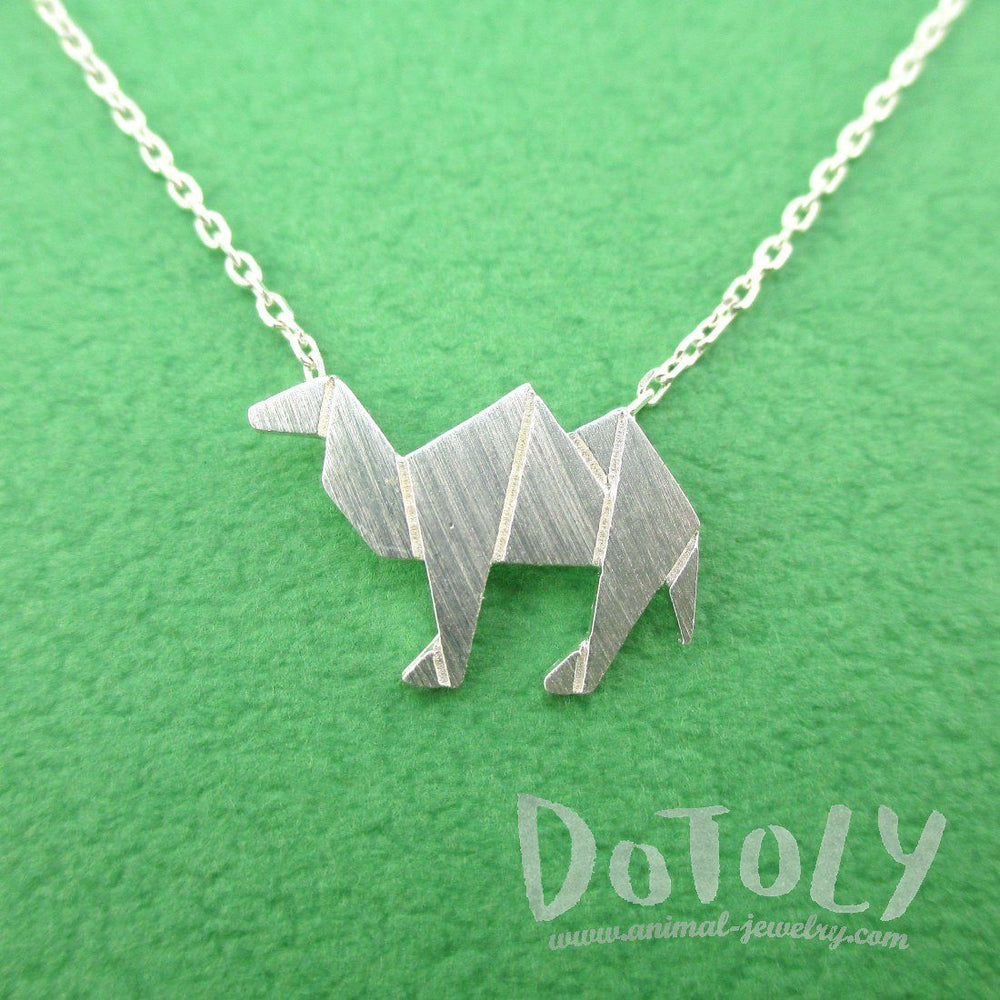 Camel Origami Shaped Pendant Necklace in Silver | DOTOLY