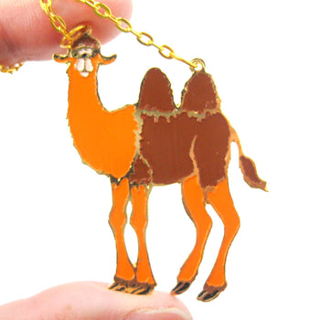 Camel Shaped Animal Cartoon Enamel Pendant Necklace | Limited Edition | DOTOLY