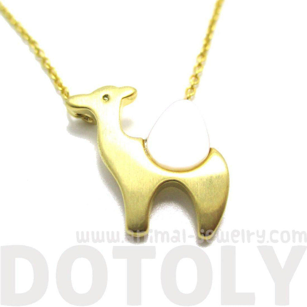 Camel Shaped Animal Themed Charm Necklace in Gold with Pearl Detail | DOTOLY | DOTOLY