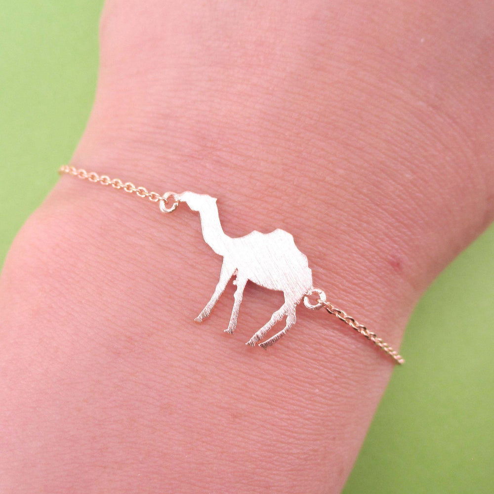 Camel Silhouette Shaped Charm Bracelet in Rose Gold | Animal Jewelry | DOTOLY