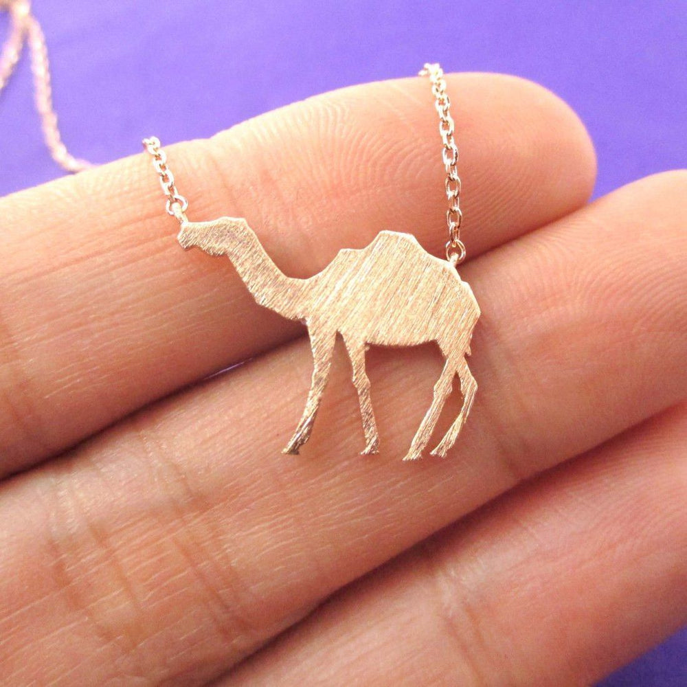 Camel Silhouette Shaped Pendant Necklace in Rose Gold | Animal Jewelry | DOTOLY