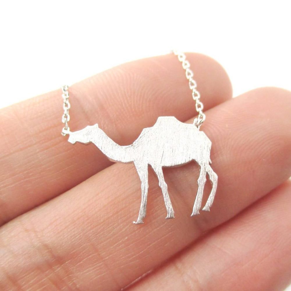 Camel Silhouette Shaped Pendant Necklace in Silver | Animal Jewelry | DOTOLY