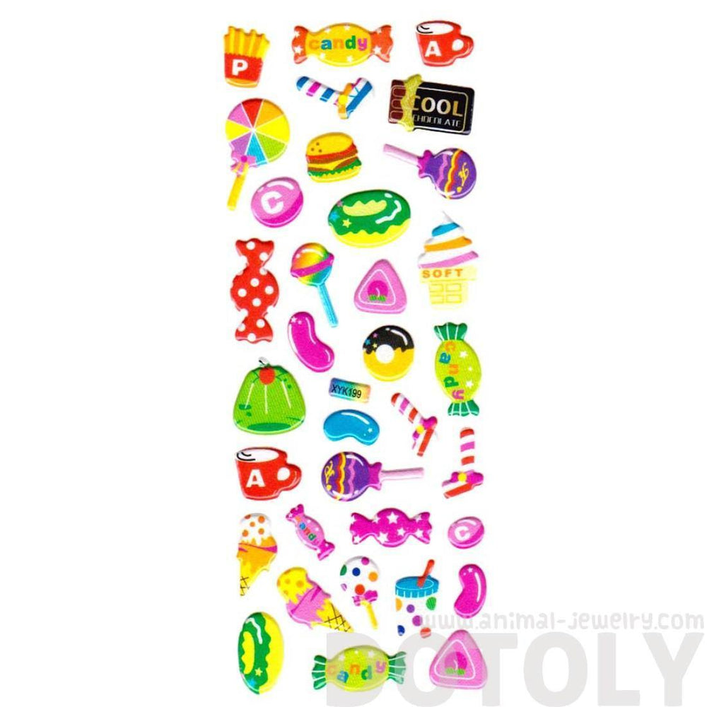 Candies Burgers Ice Cream Jelly Bean Shaped Sweets Food Themed Puffy Stickers for Kids | DOTOLY