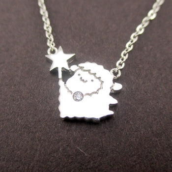Capricorn Cute Fairy Sheep Shaped Pendant Necklace in Silver | DOTOLY