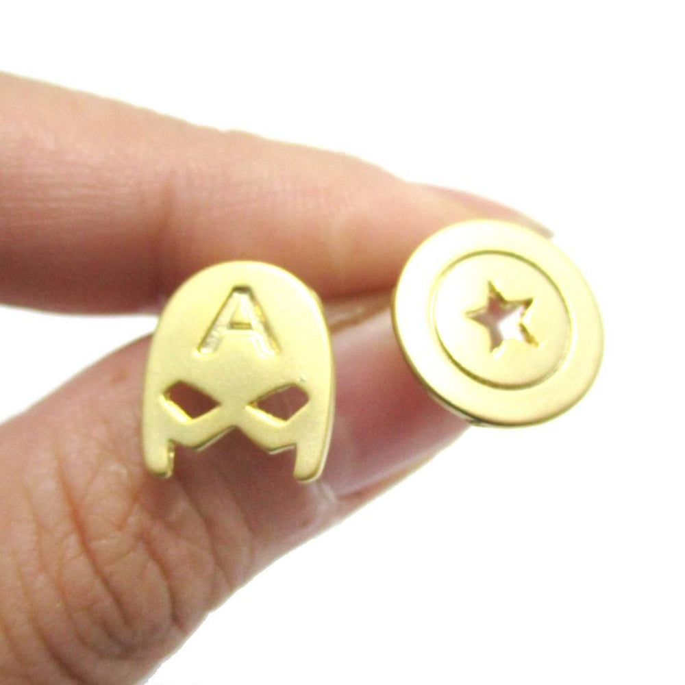 Captain America Mask and Shield Shaped Stud Earrings in Gold | Super Heroes Jewelry | DOTOLY