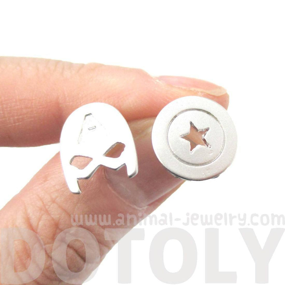 Captain America Mask and Shield Shaped Stud Earrings in Silver | Super Heroes Jewelry | DOTOLY