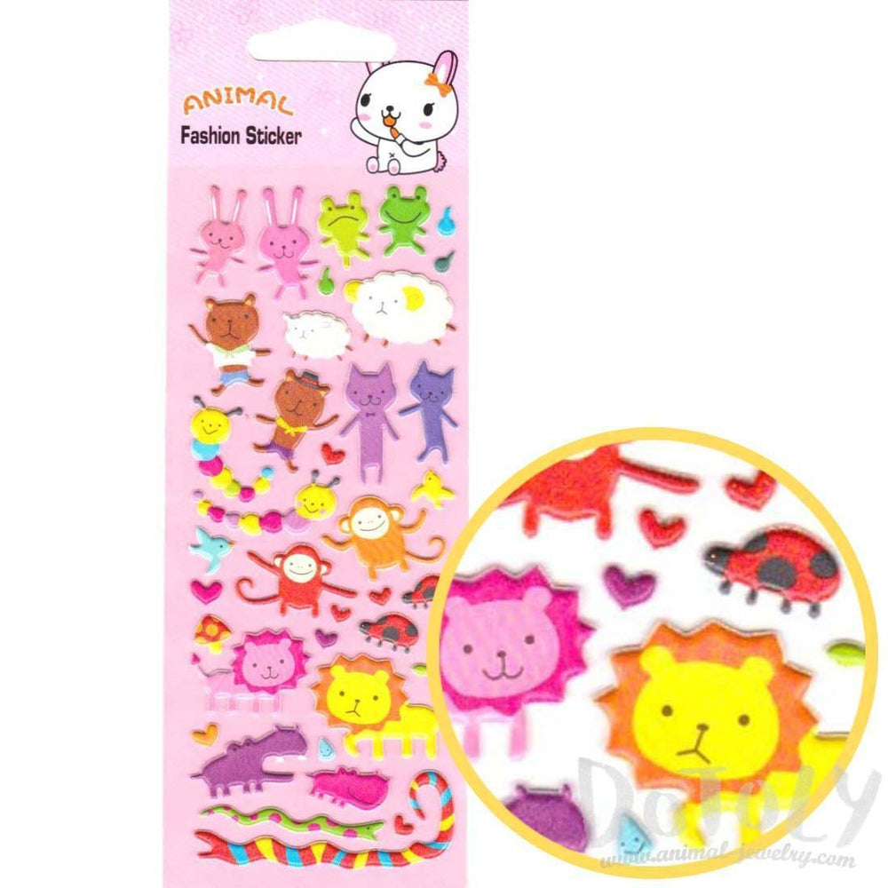 Cartoon Animal Bunny Bears Cats Monkey Lion Shaped Stickers for Kids | DOTOLY