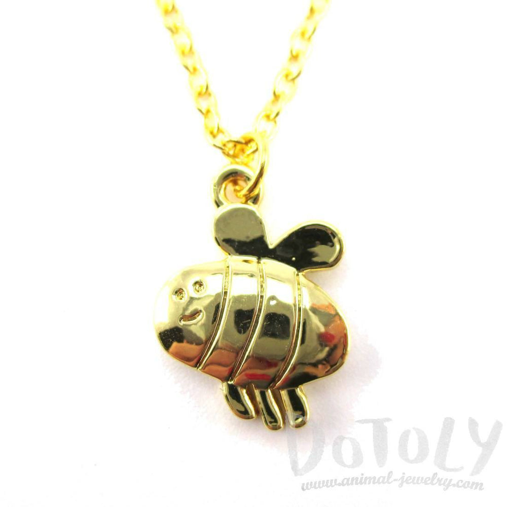 Cartoon Bumble Bee Shaped Pendant Necklace in Gold | DOTOLY | DOTOLY