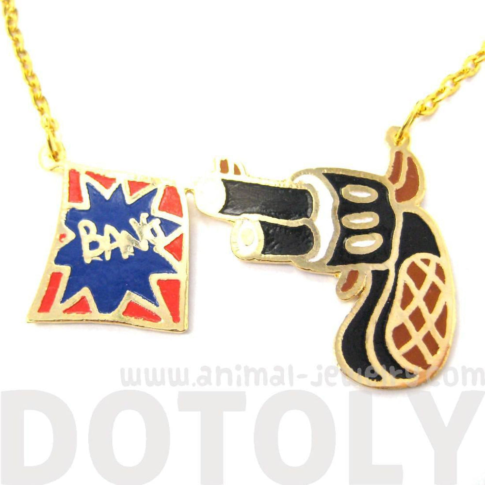 Cartoon Hand Gun Pistol and Bang Flag Shaped Pendant Necklace | Limited Edition | DOTOLY